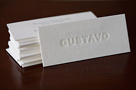 Minimalistic Letterpress Business Card – Gustavo | Cardrabbit.Com