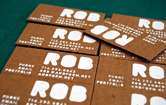 Unique Cardboard Business Cards - Rob