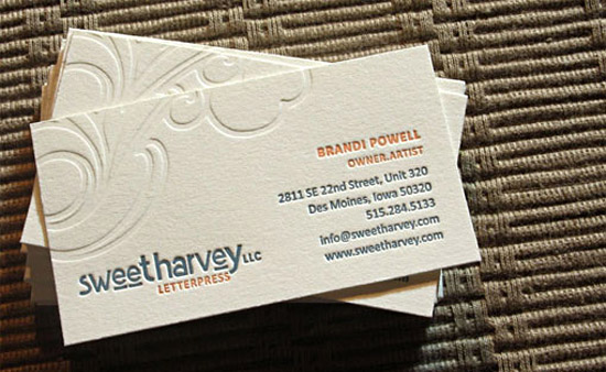 Unique letterpress business card sweet harvey cardrabbit unique letterpress business card sweet harvey colourmoves