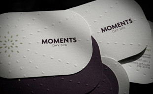 Cool Letterpressed Business Card – Moments Day Spa
