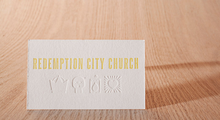 Embosed letterpress business card motor city chopshop cardrabbit letterpress business card redemption city church reheart Images