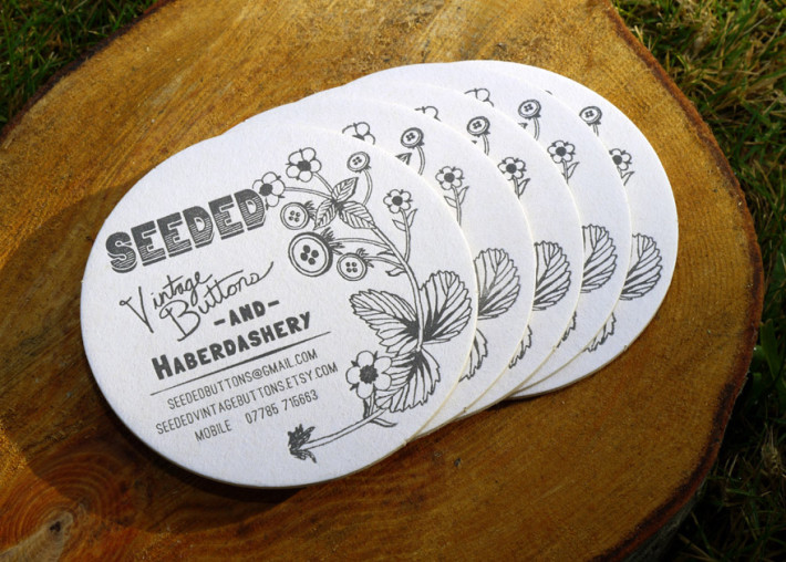 Round letterpress business card seeded cardrabbit inshare reheart Image collections