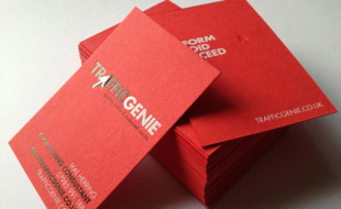 Red Letterpress Business Card - Traffic Genie