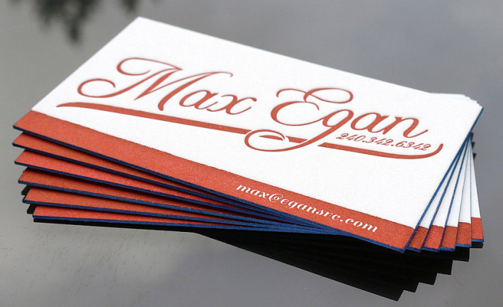 Letterpress Business Card - Max Egan