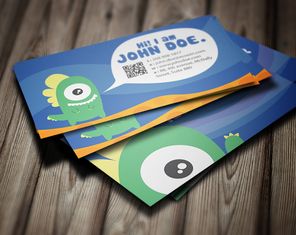 Cute Business Card Graphic Monster Cardrabbit Com