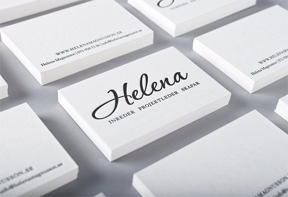 Minimalistic Letterpress Business Card Helena Magnusson