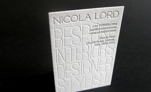 Unique Letterpress Business Card – Nicola Lord