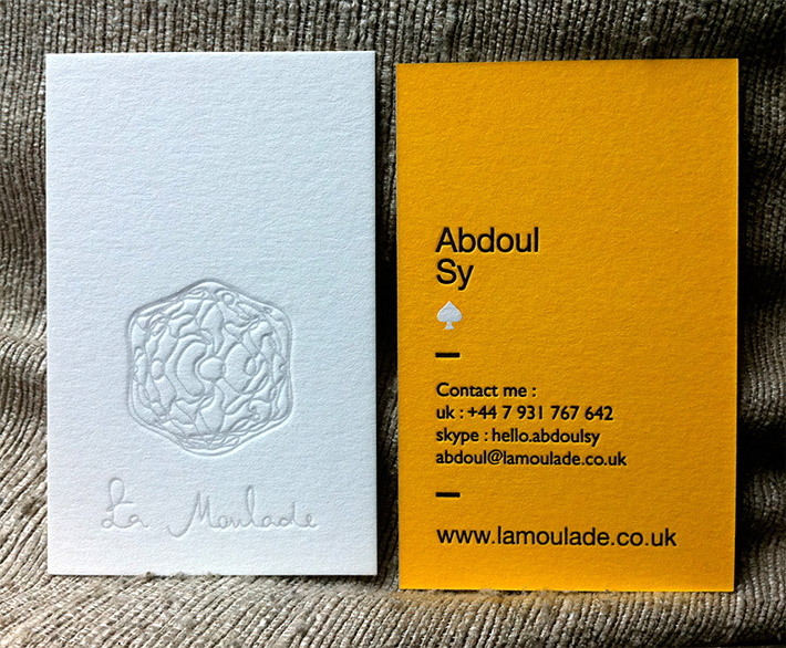 Creative letterpress business card la moulade cardrabbit inshare reheart Image collections