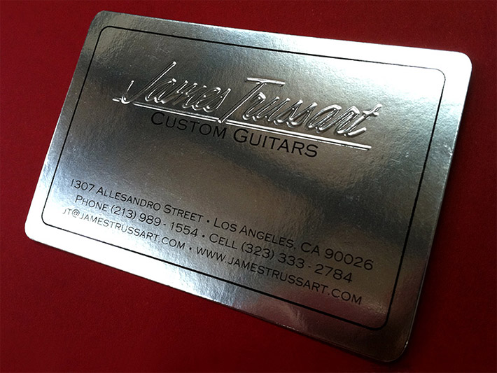 Metallic letterpress business card james trussart cardrabbit inshare reheart
