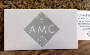 Minimalistic Letterpress Business Card - Art du Marbre