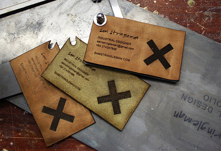 Unique leather business cards sam stringleman for Industrial design business card