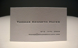 Minimalistic Letterpress Business Card - Thomas Kenneth Hayes