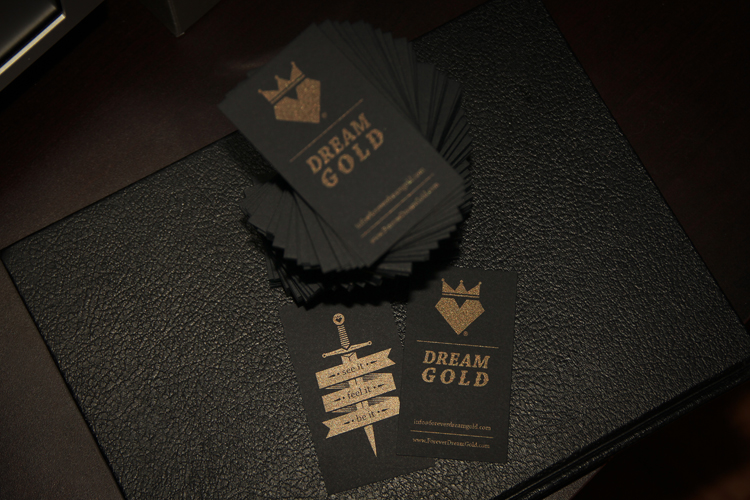Cool Gold Ink Business Cards - Dream Gold