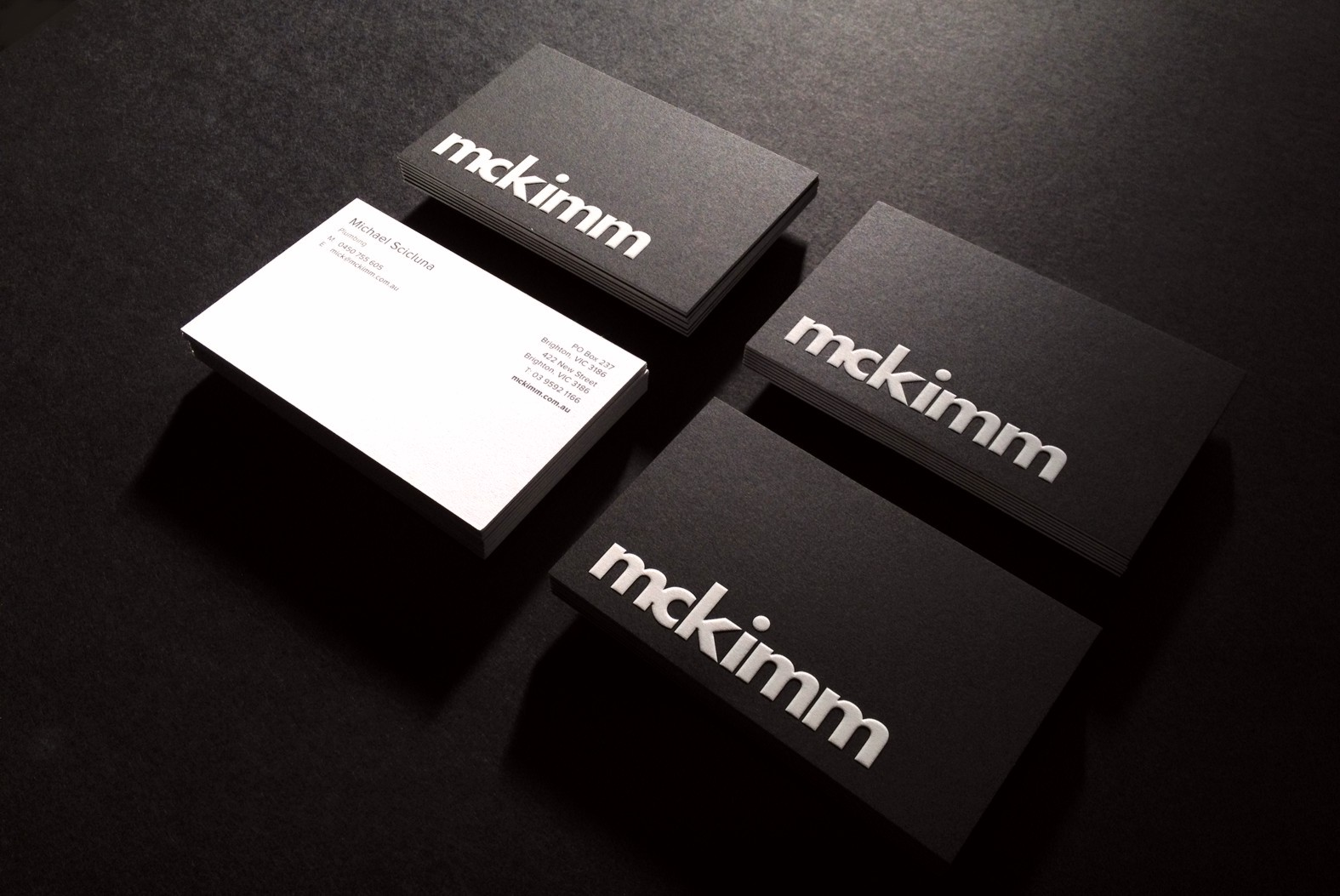 Cool black letterpress business cards mckimm cardrabbit colourmoves