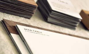 Unique Square Half-Wooden Business Cards - Beer Table 2