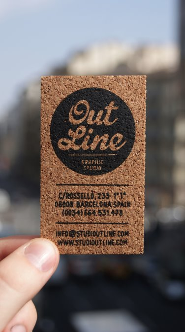 Cool letterpress business card with screen printing variations outline business card on cork reheart Images
