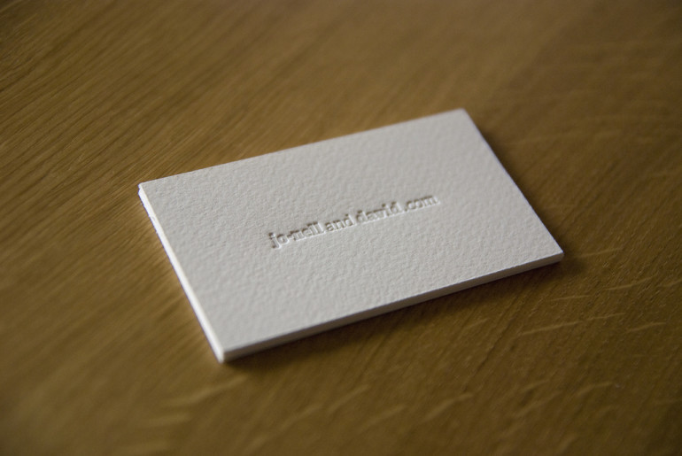 Minimalistic Letterpress Business Card - Jo-Nell and David