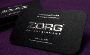 Jet Black Business Card Embossed With Silver Foil - Zorg Entertainment
