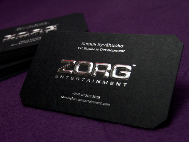 Jet black business card embossed with silver foil zorg jet black business card embossed with silver foil zorg entertainment colourmoves
