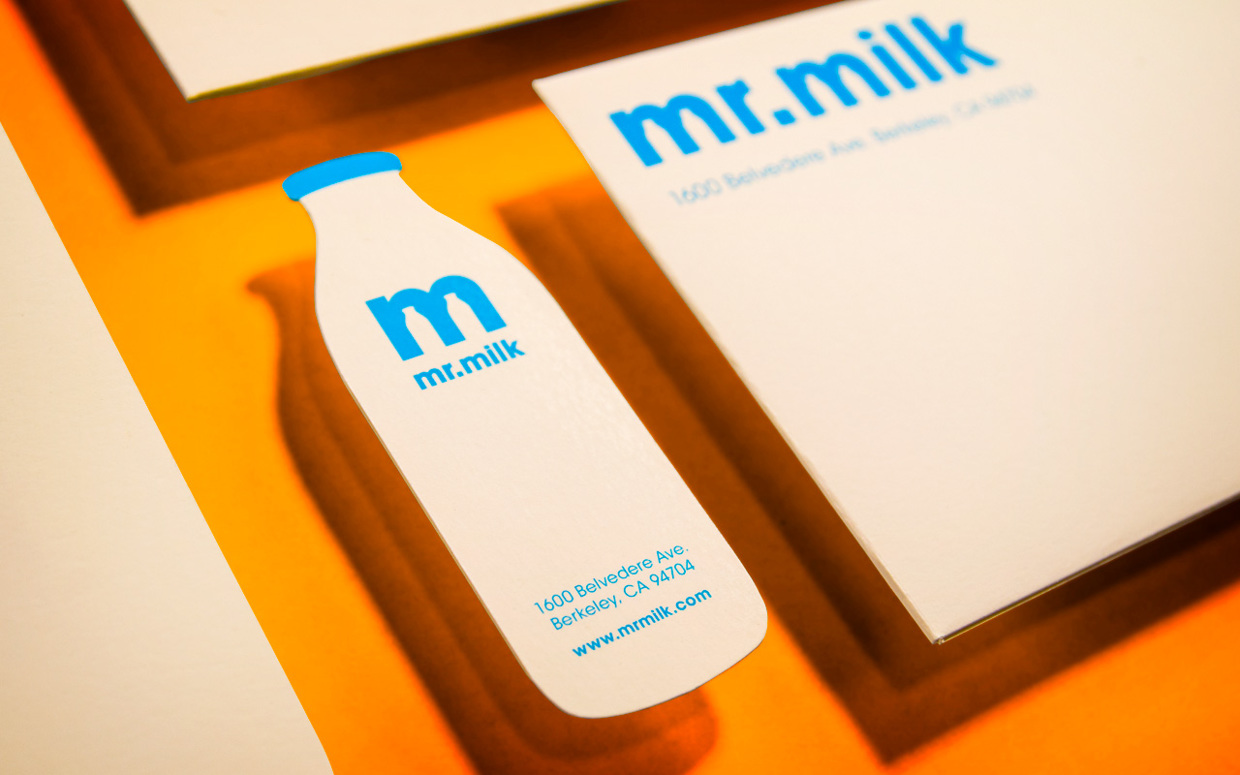 Creative business card design spilt milk cardrabbit unique custom shaped business cards mr milk creative reheart Images