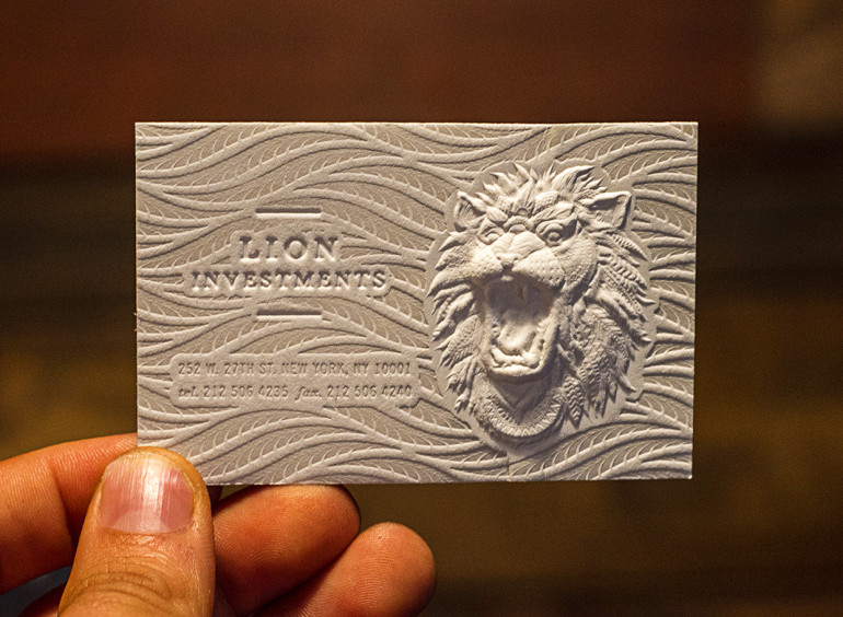 Amazing Embossed Business Card - Lion Investments