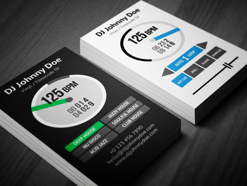 11 amazing business card templates for djs cardrabbit custom dj business card template flashek Choice Image