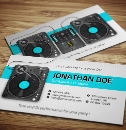 11 amazing business card templates for djs cardrabbit turntablist dj business card template accmission Images