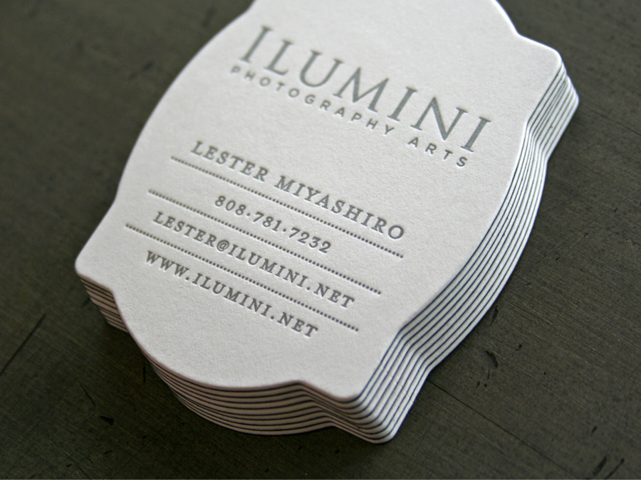 Unique Die Cut Letterpress Business Card
