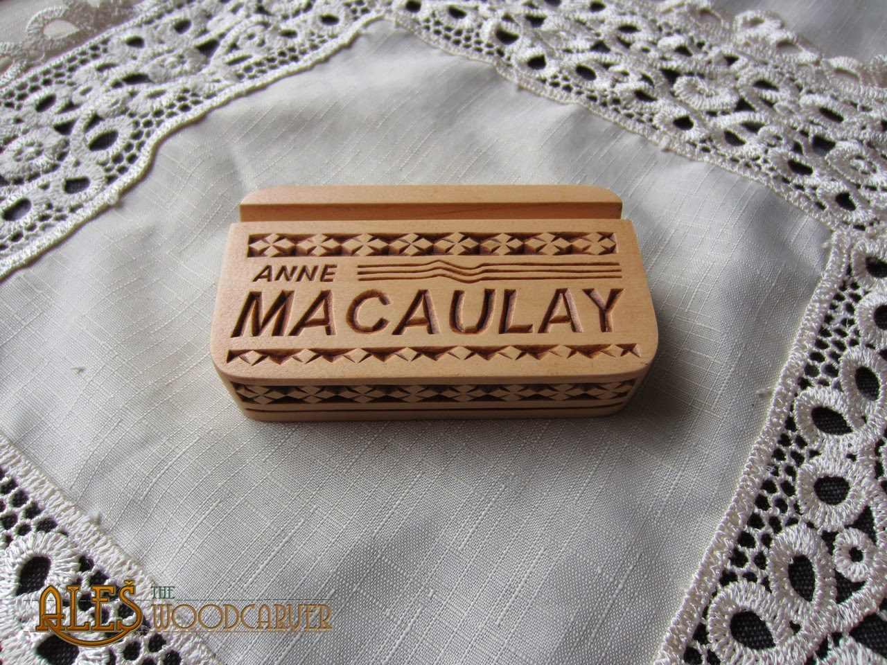 Hand carved hand shaped wooden business card holder cardrabbit unique wooden business card holder anne macaulay reheart Images