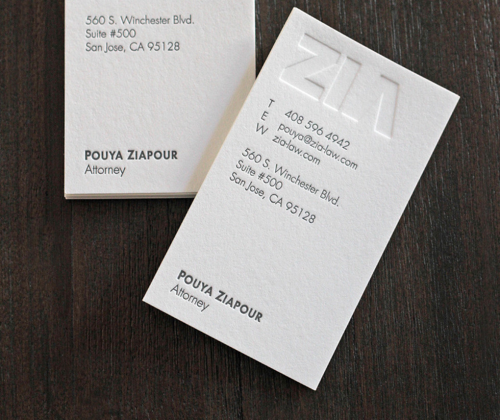 Creative letterpress business card zia law cardrabbit creative letterpress business card zia law reheart Image collections