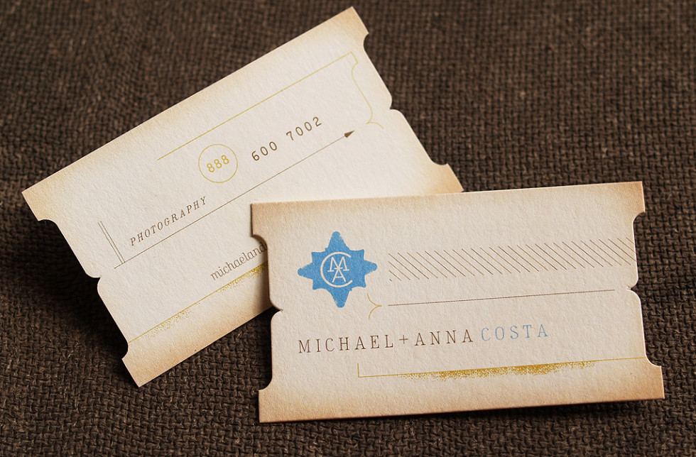 Die-Cut Business Cards – Michael+Anna Costa | CardRabbit.com
