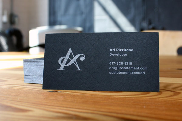 Cool Black Letterpress Business Card - Upstatement 4