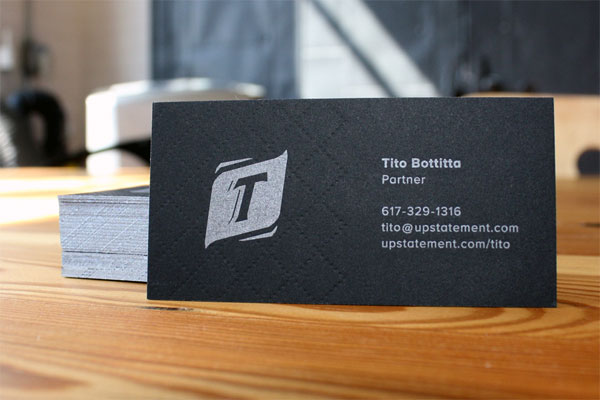 Cool Black Letterpress Business Card - Upstatement