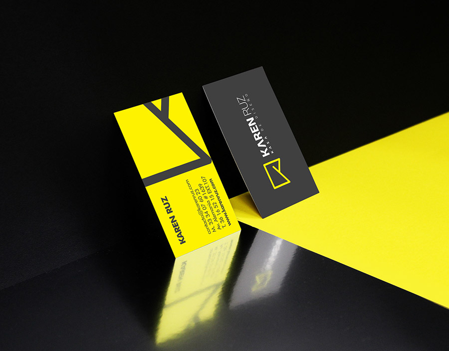 Folding custom business cards nordic black theatre cardrabbit custom black and yellow business cards karen ruz colourmoves