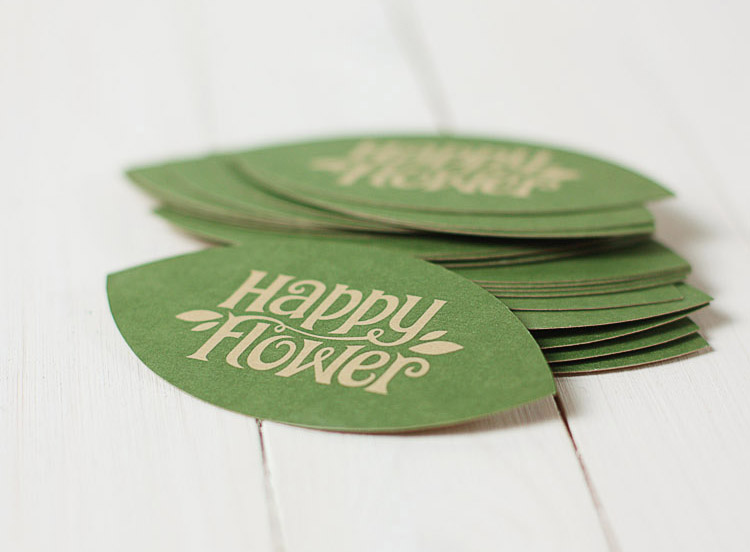 Custom die cut business cards happy flower cardrabbit custom die cut business cards happy flower reheart