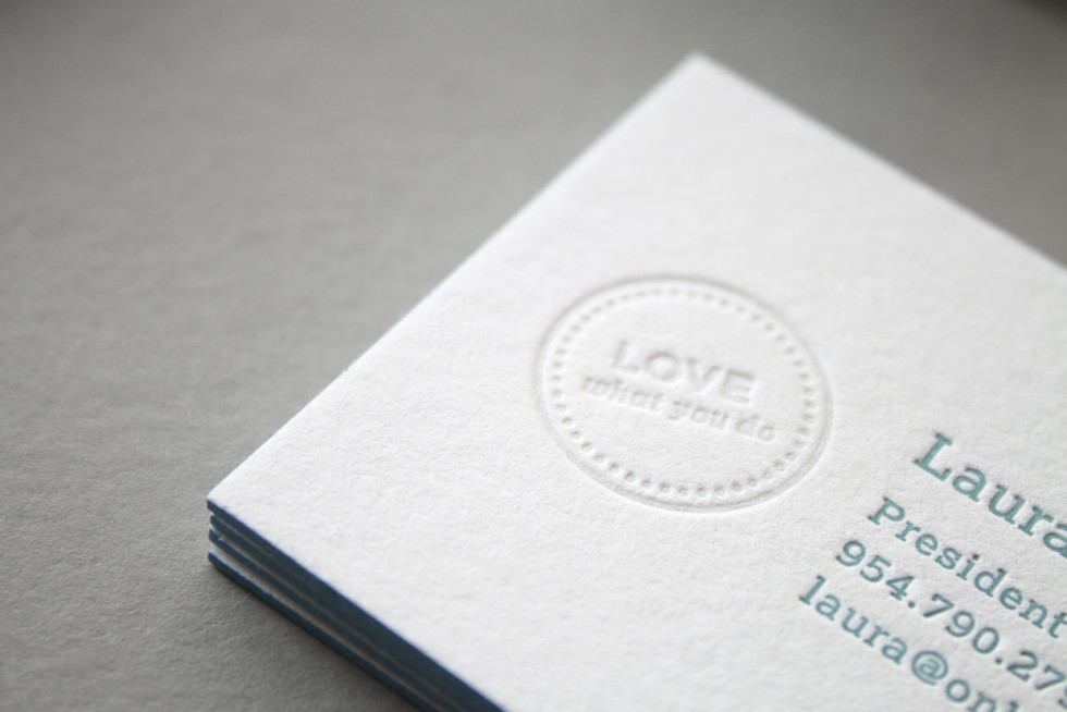 Edge Painted Letterpress Business Cards - Onboard