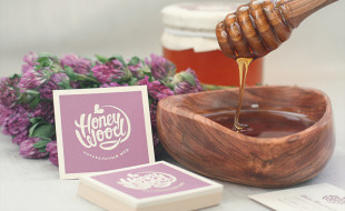 Square Pink Business Cards - HoneyWood