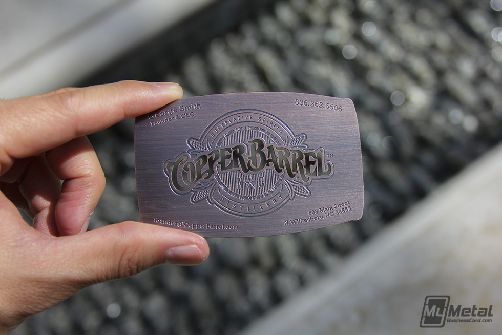 Unique Metal Business Card – Copper Barrel | CardRabbit.com