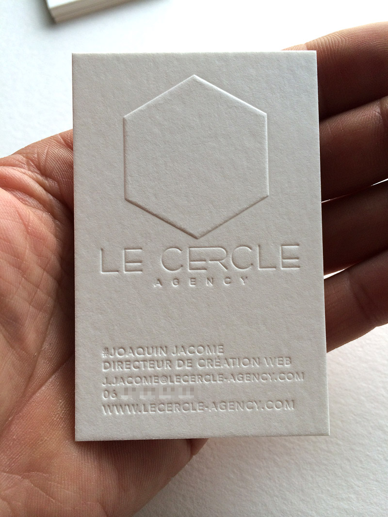 White Blind Letterpress Business Card – Le Cercle Agency ...