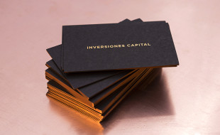 Cool Black Business Cards with a Golden Edge - Inversiones Capital