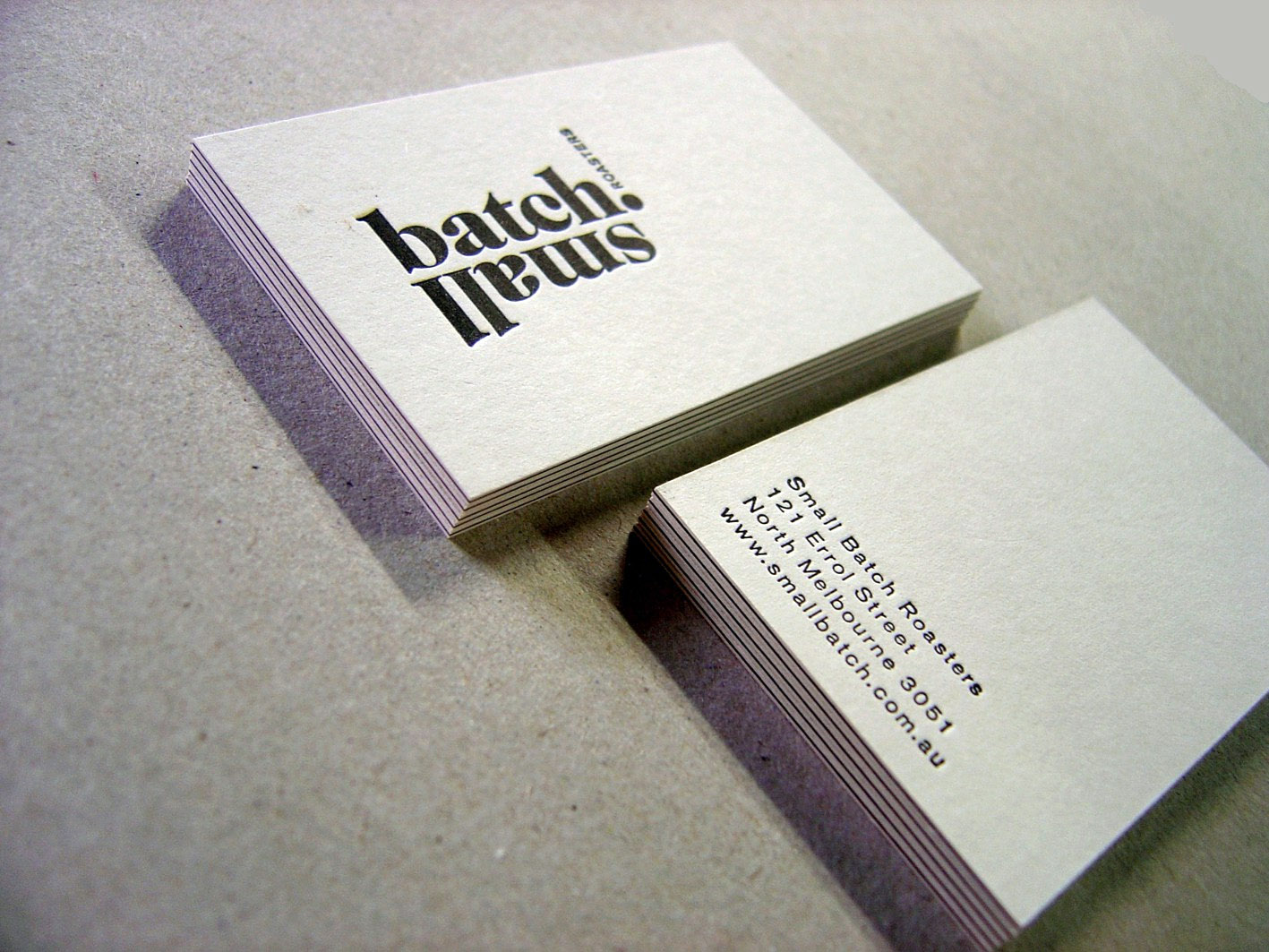 Letterpress business card broadsheet media cardrabbit creative triplex business cards small batch roasters reheart