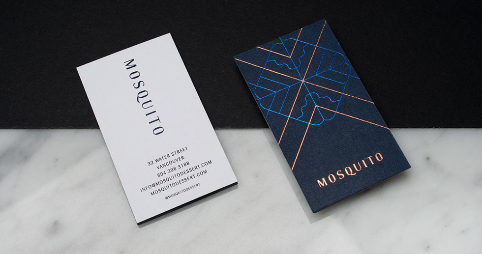 Custom Foil-Printed Business Cards - Mosquito Dessert