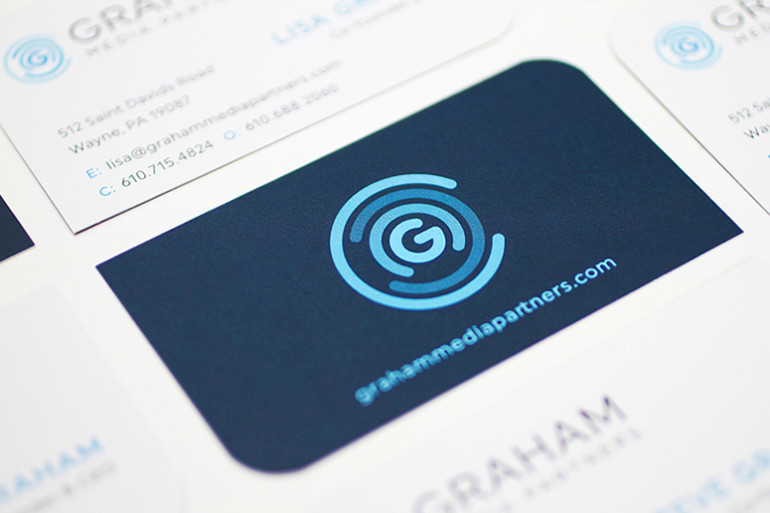 Cool Die-Cut Business Cards - Graham Media Partners 2