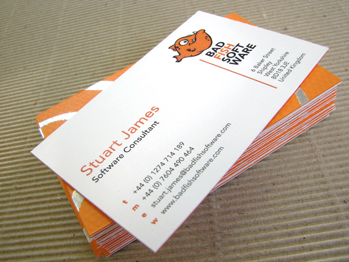 Cool Duplexed Foil Printed Business Cards - Bad Fish Software 4