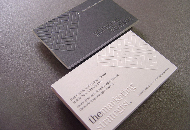 Cool Letterpress Business Card - Marketing Strategist