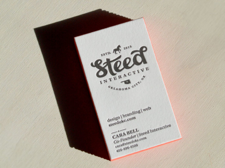 Edge Painted Letterpress Business Card - Steed