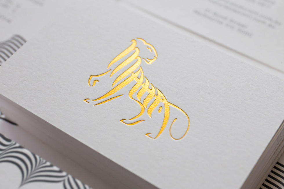 Cool Gold Foil Letterpressed Business Card Maha Restaurant