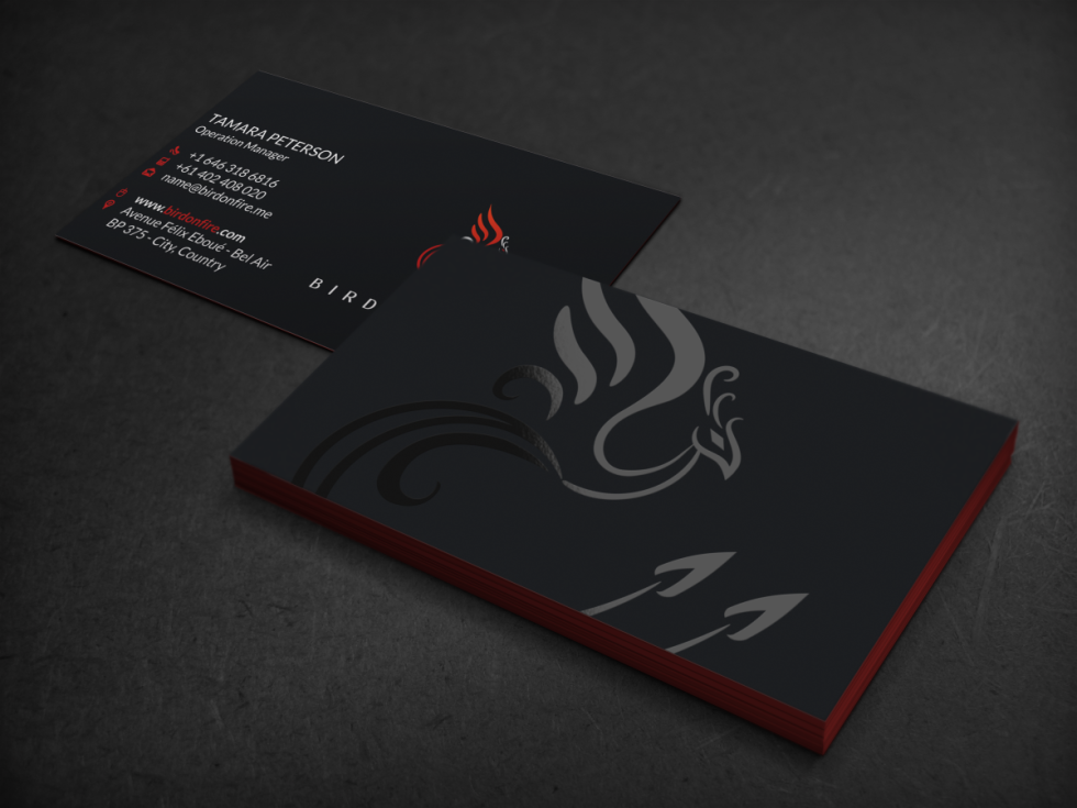 Cool Spot UV Business Card - Bird On Fire