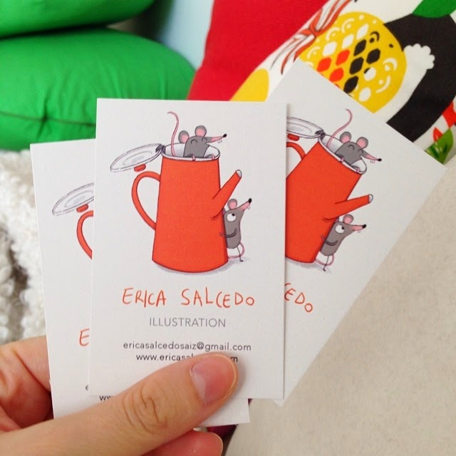 Illustrated Business Cards of Erica Salcedo