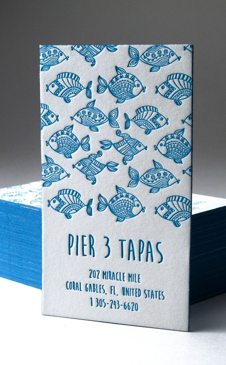 Letterpress Business Card - Pier 3 Tapas